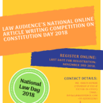 LAW AUDIENCE'S NATIONAL ONLINE ARTICLE WRITING COMPETITION ON CONSTITUTION DAY 2018